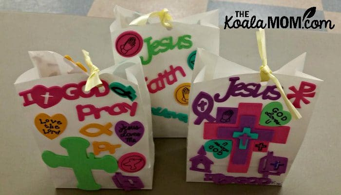 Treat bags for our Canadian Catholic All Saints Day Party