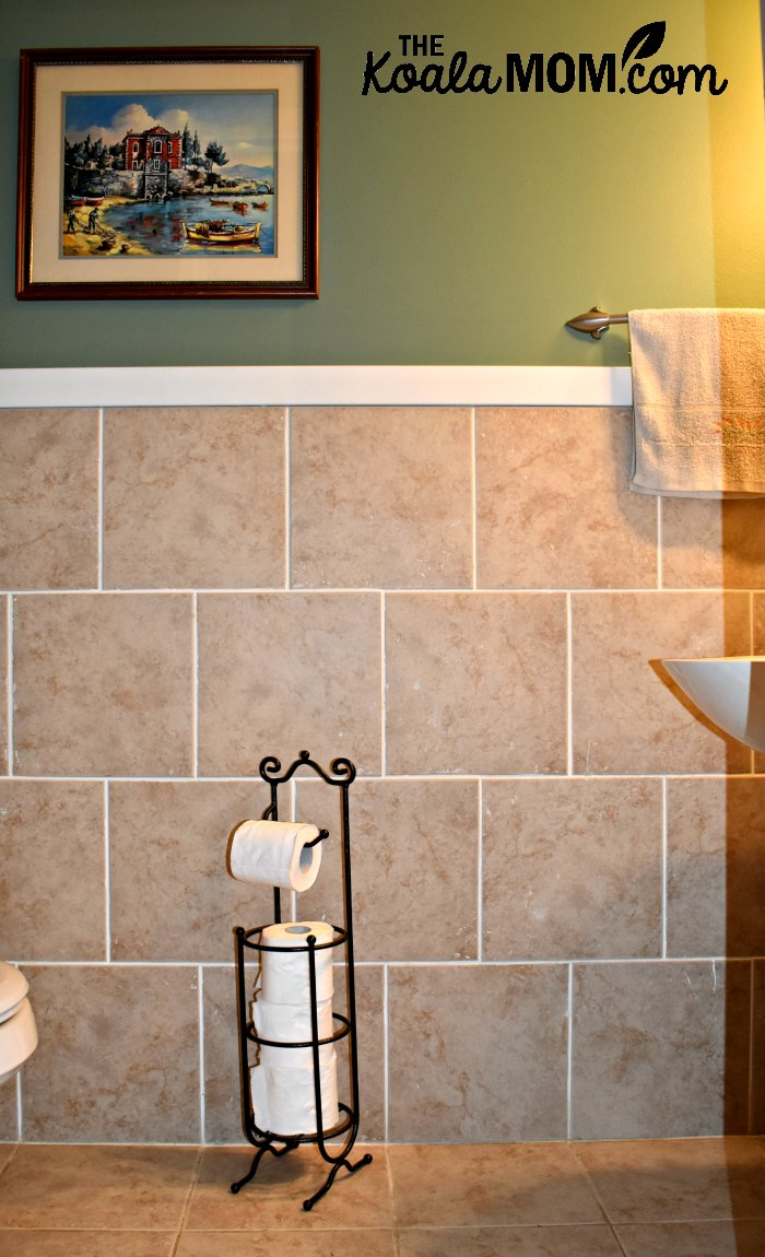 A new toilet paper holder can really help in updating a small bathroom.