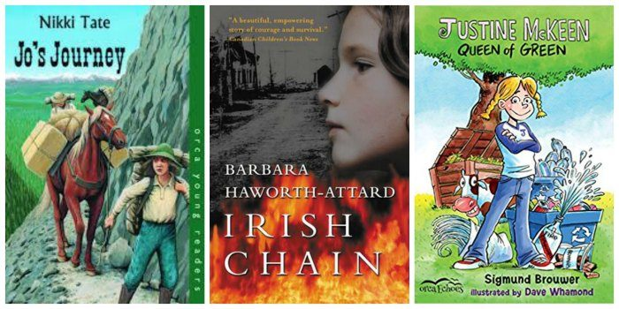 Canadian fiction for tween girls, including Jo's Journey and Irish Chain (historical fiction) and Justine McQueen, Queen of Green (contemporary fiction)