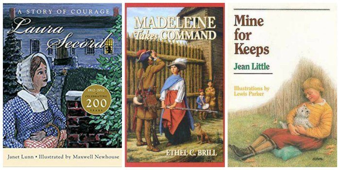 Canadian novels for tween girls, including a biography of Laura Secord, historical fiction about Madeleine de Vercheres, and a contemporary story about a girl with cerebral palsy in Ontario.