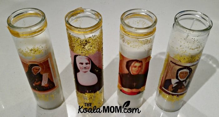 Canadian saints on candles - St. Marguerite Bourgeoys, St. Marguerite d'Youville, Bl. Dina Belanger and Bl. Elisabeth Turgeon.