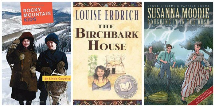 A few great books for Canadian tween girls, including Rocky Mountain Kids (short stories), The Birchbark House (historical fiction) and Susanna Moodie: Roughing It In the Bush (graphic novel).