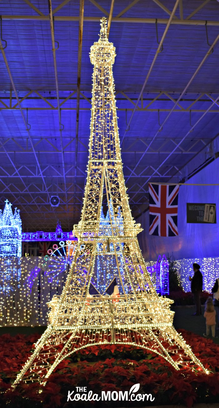 The Eiffel Tower in lights at Christmas Glow in Langley, BC.