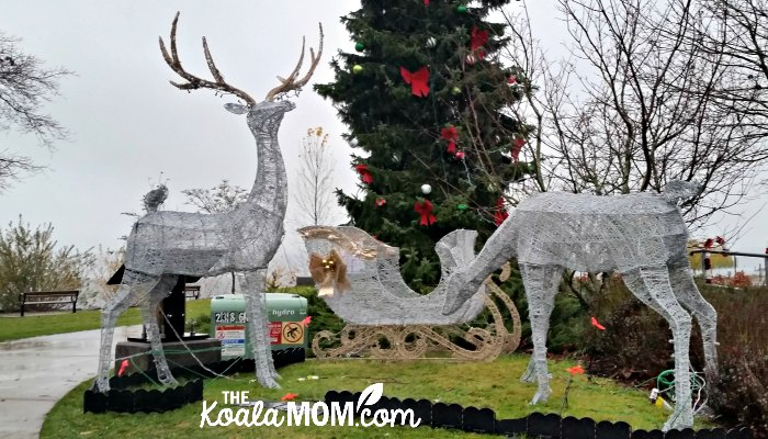 Reindeer statues at Lights on the Lake in Harrison Hot Springs.