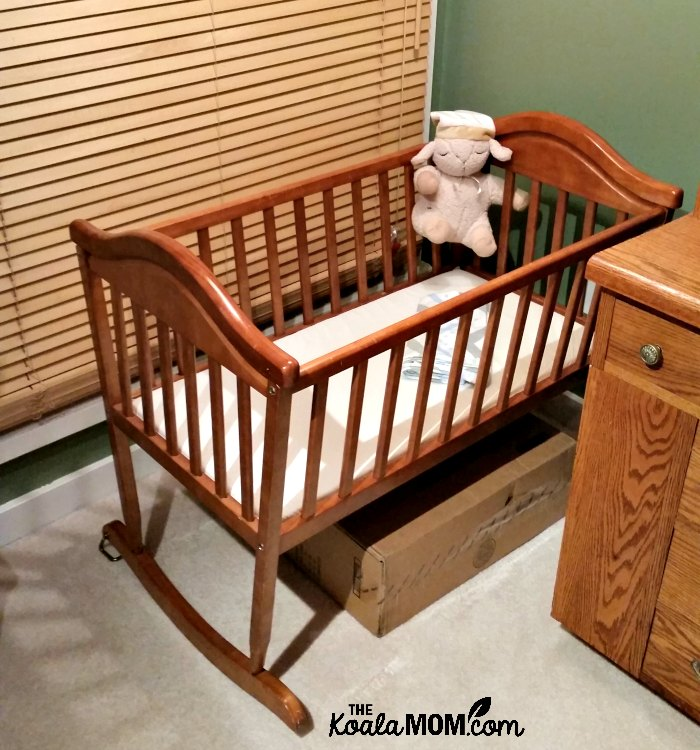 Baby cradle ready for a baby's arrival - even though the baby was unplanned.