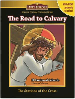 Holy Heroes colouring book, the Road to Calvary, is great for keeping kids busy and engaged while praying the Stations of the Cross.