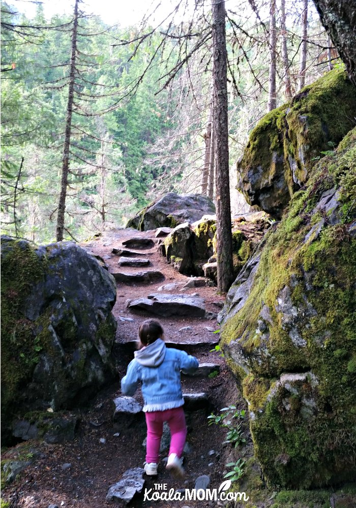 Toddler climbing rock stairs on the trail just before Nairn Falls.