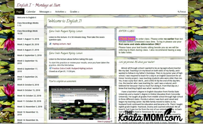 Big River Academy English I class - welcome screen.