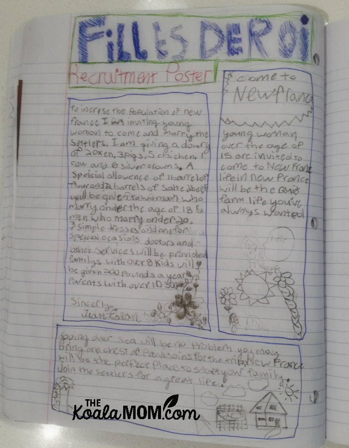 A grade 4 homeschool student's Canadian history notebooking pages about the filles du roi of New France