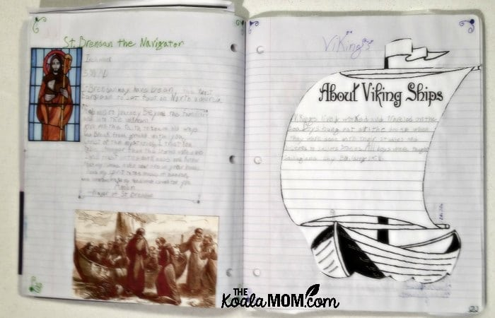 A grade 5 homeschool student's Canadian history notebook pages about St. Brendan the navigator and Viking ships.