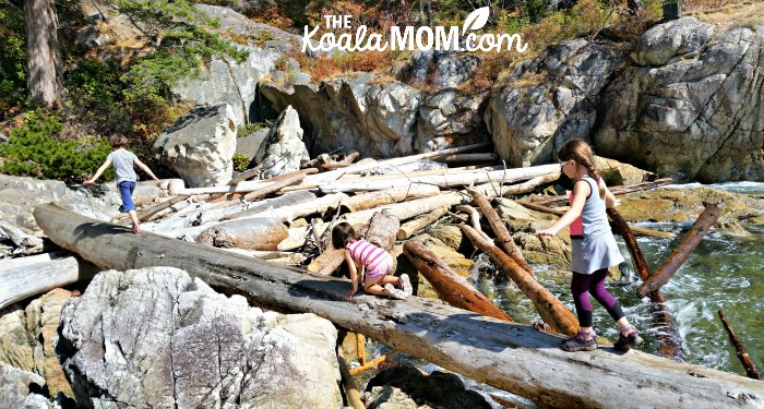 Three girls walking across a driftwood log.