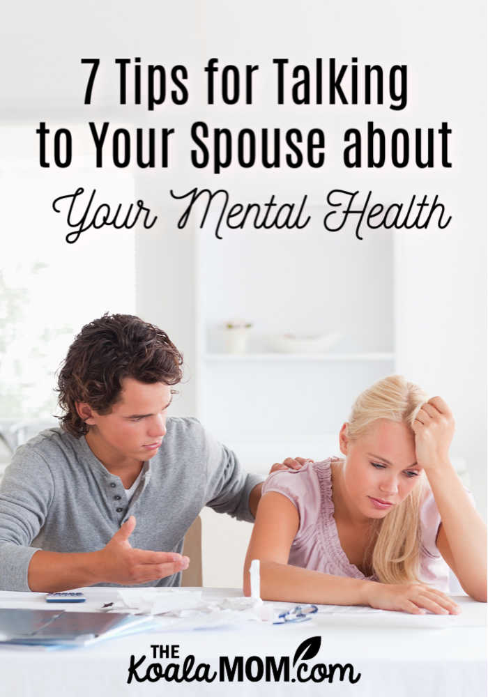 7 tips for talking to your spouse about your mental health (like this despaired couple talking in their living room.)