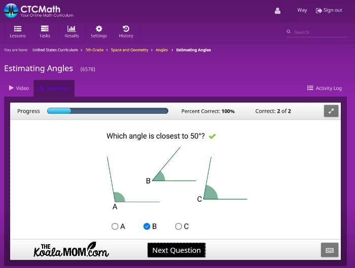 CTCMath sample question following the online lesson.