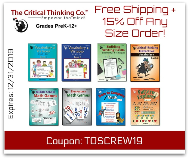 Free Shipping and 15% off your order at The Critical Thinking Co.