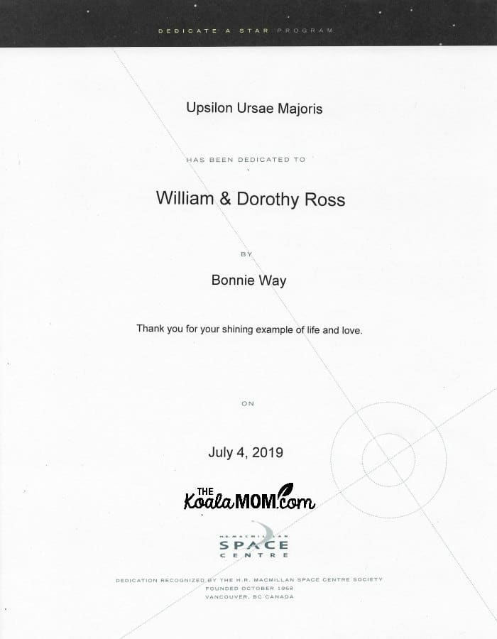 Dedicate a Star certificate for William and Dorothy Ross on July 4, 2019