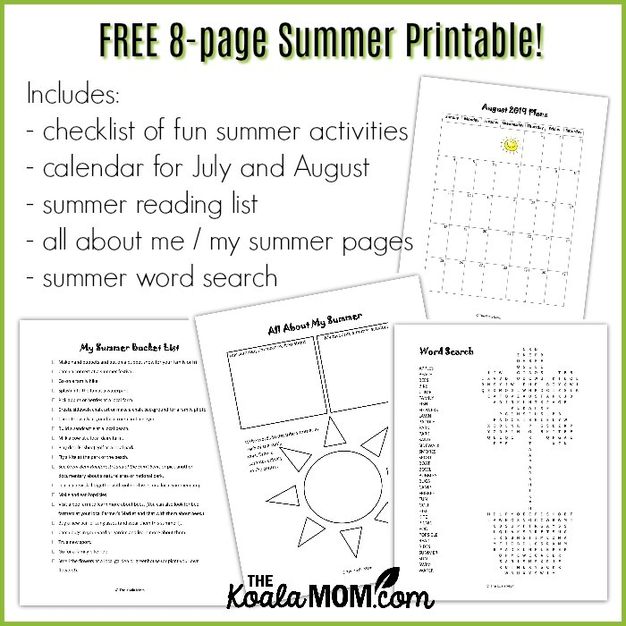 FREE 8-page summer printable