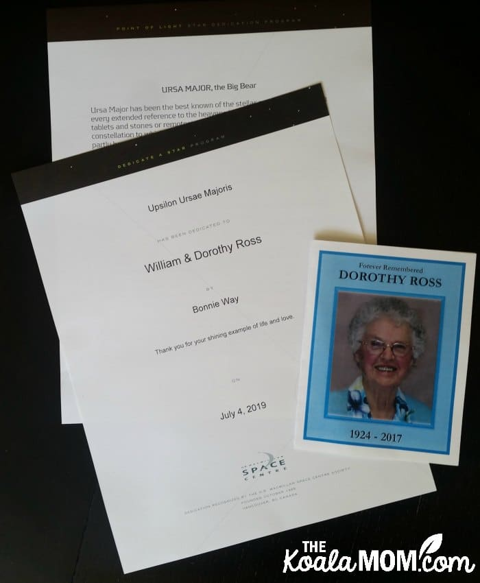 Dedicate a Star documents with my grandma's funeral program - documents I'd like to scrapbook.