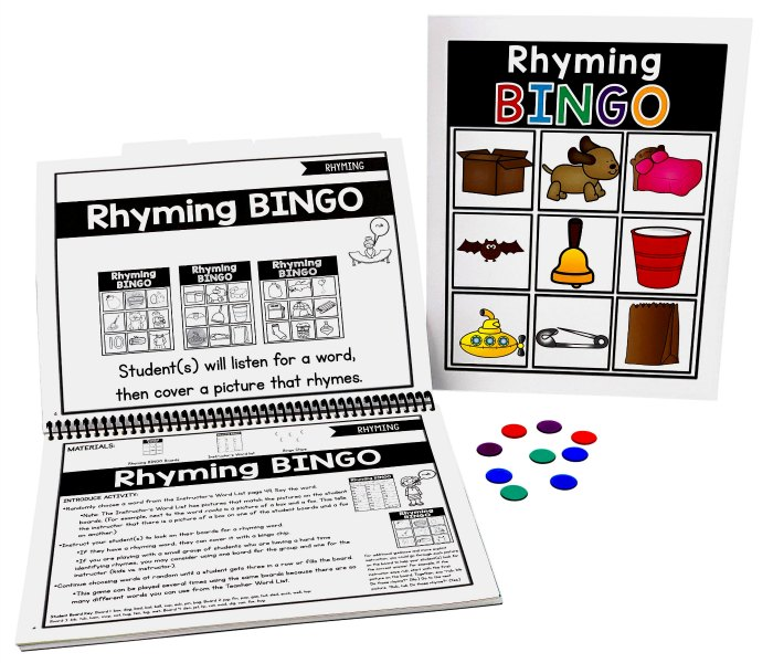 Rhyming bingo helps kids learn to read in the dyslexia curriculum from PDX Reading Specialist.