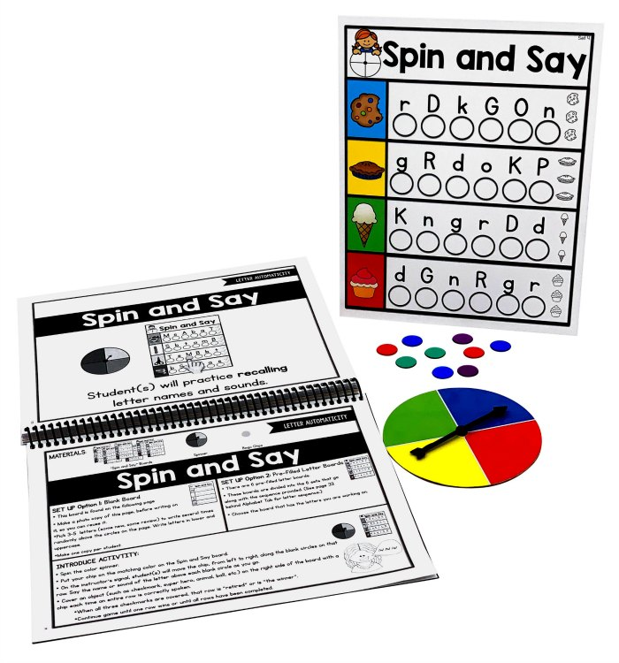 Spin and say game from the dyslexia toolkit.