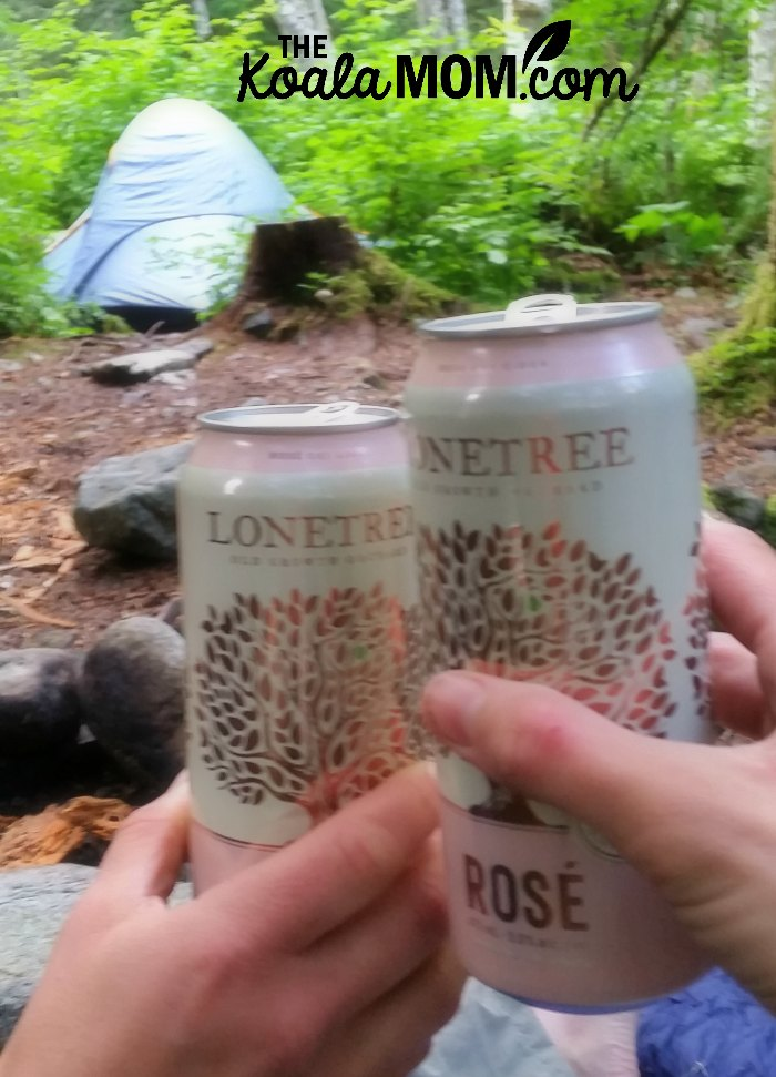 Cheers to a moms' camping trip!