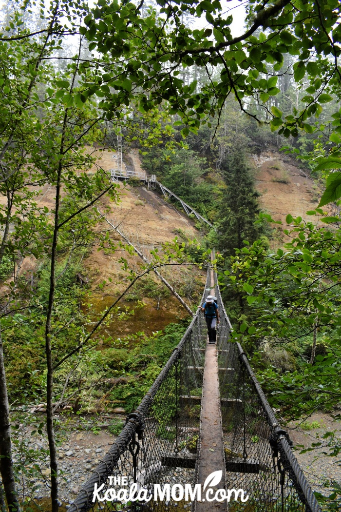 Logan Creek suspension bridge.