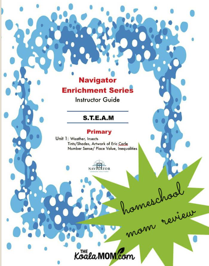 Navigator Enrichment Series Instructor Guide STEAM unit studies - primary level