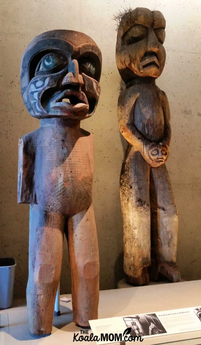 Wooden First Nations statues at UBC's Museum of Anthropology