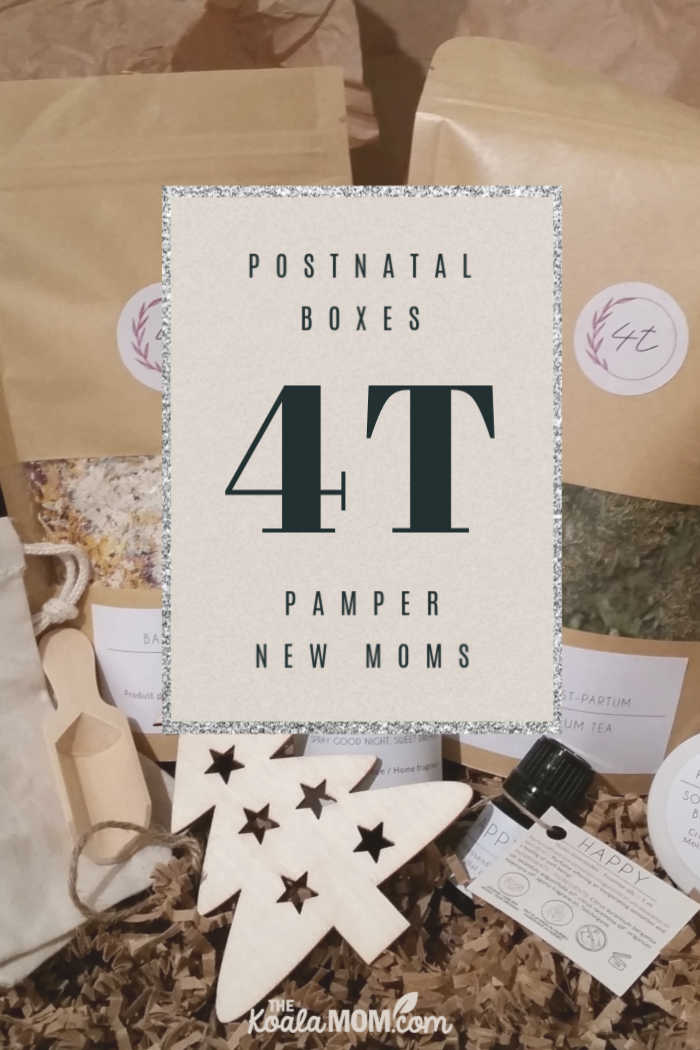 4T postnatal boxes pamper new moms.
