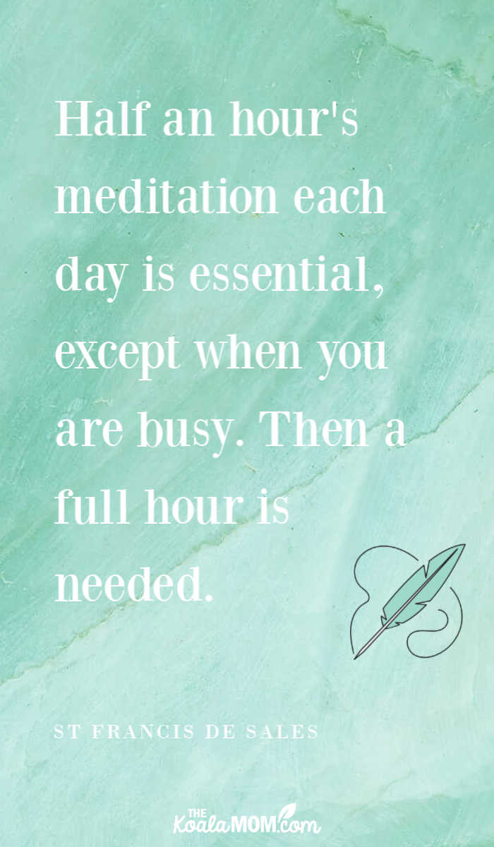 """Half an hour's meditation each day is essential, except when you are busy. Then a full hour is needed."" ~ St. Francis de Sales"