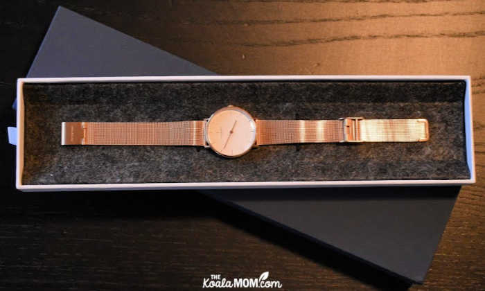 Nordgreen rose-gold women's watch in a box.