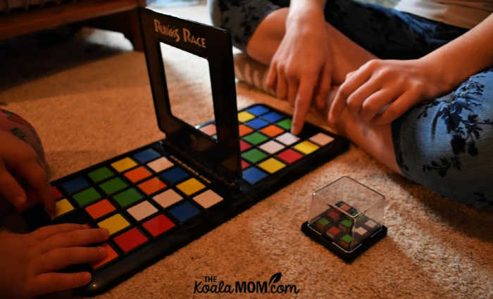 Rubik's Race is a fun 2-player board game for ages 5+.