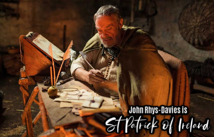 John-Rhys Davies plays Saint Patrick writing his Confessio