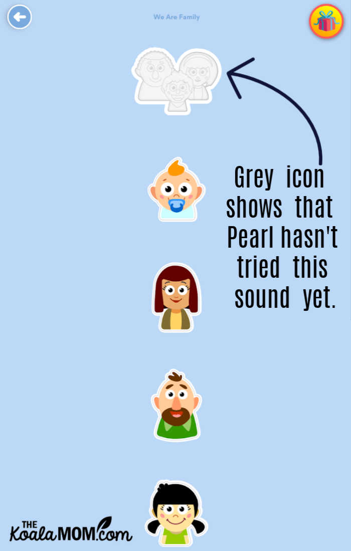 Icons in Speech Blubs show which sounds kids have practiced.