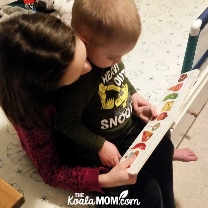 9yo sister reads The Very Hungry Caterpillar to her 2yo brother.