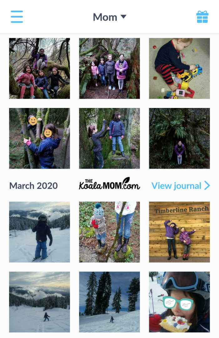 Creating a monthly family photo album using an easy app.