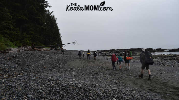 Day 2 on the Juan de Fuca trail: hiking across Chin Beach.