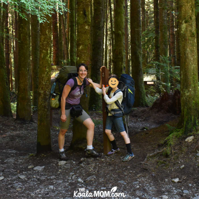 Bonnie and Lily at the 0 km marker on the Juan de Fuca Trail.