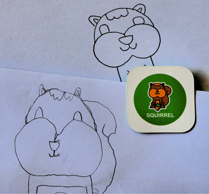 Squirrel drawings by Quincey and Pearl.