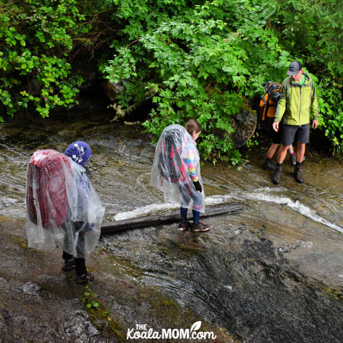 Young hikers crossing a shallow stream.