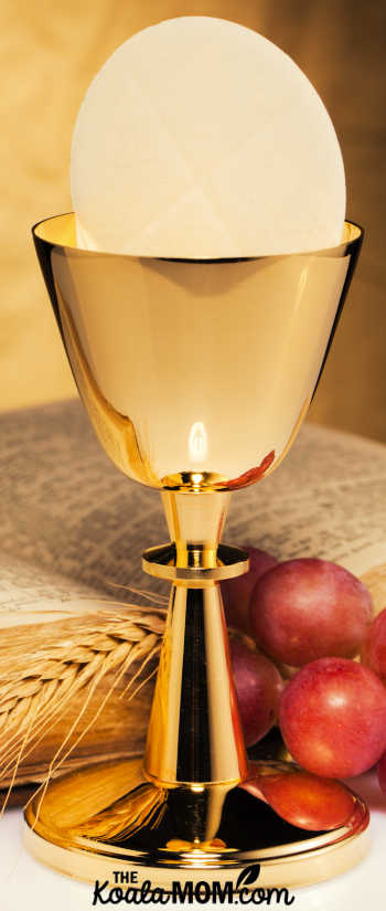 Bread and wine become the body and blood of Jesus Christ in the Eucharst - the miracle of transubstantiation.