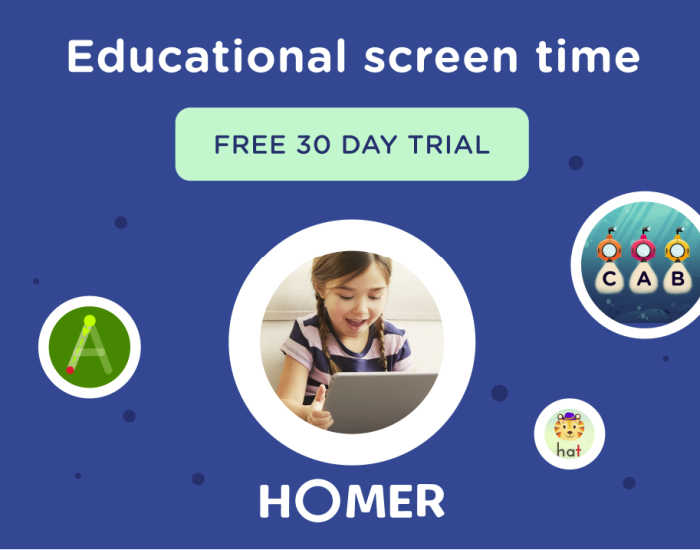 HOMER offers educational screen time with a FREE 30-day trial.