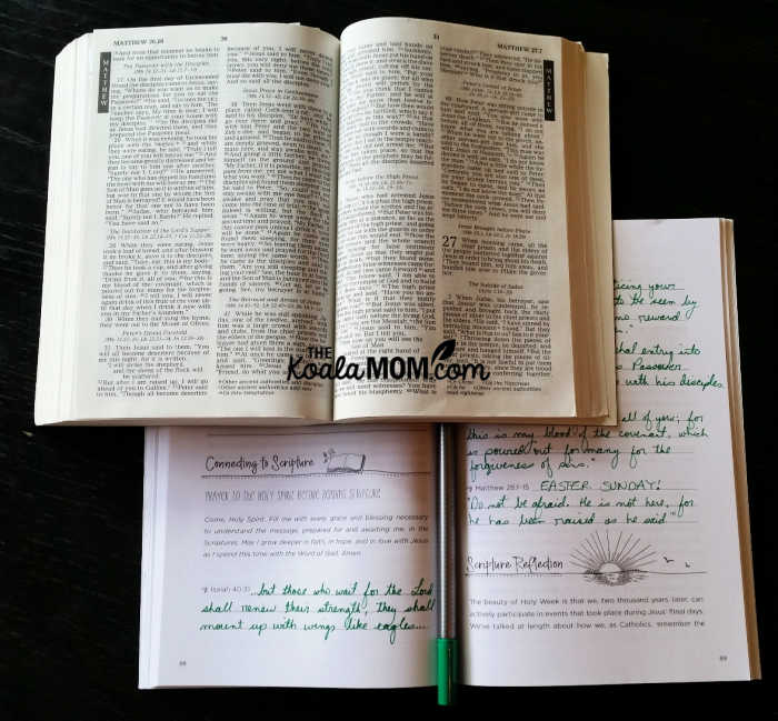 Open Bible with my Stay Connected journal, which invites me to dive into Scripture and take notes as I reflect.
