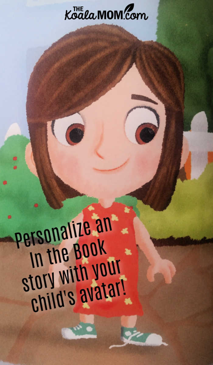 Personalize an In the Book story with your child's avatar, like this brown-eyed brown-haired girl dressed in orange (just like my daughter!).