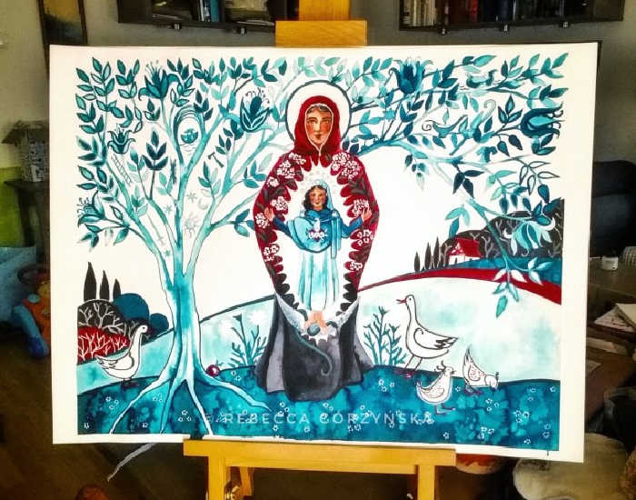 """""""Mary is the Immaculate Conception"""" artwork by Rebecca Gorzynska showing various symbols in the tree around St. Anne holding an infant Mary."""