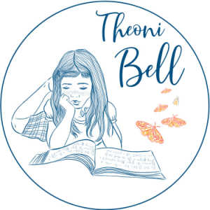 Theoni Bell logo (girl reading a book)