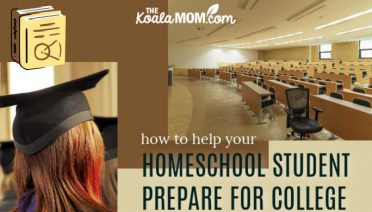 How to help your homeschool student prepare for college: A young woman wearing a graduation cap looks towards a photo of an empty university lecture hall.
