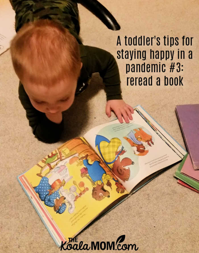 A toddler's tips for staying happy in a pandemic #3: reread a book.