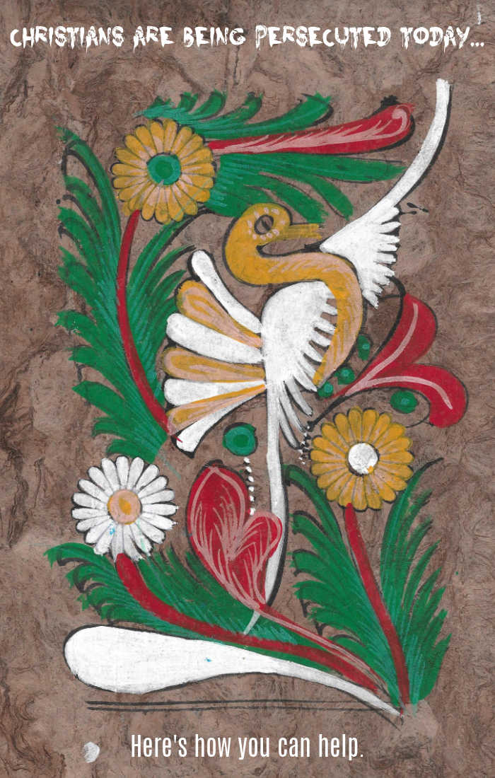 Christians are being persecuted today... here's how you can help. (Original artwork from persecuted Christian in India, featuring a beautiful orange and white bird on red, orange and green flowers.)