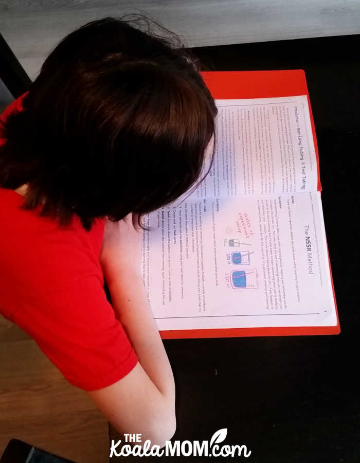 Grade 6 homeschool student reading about note-taking techniques in her Young Scientist online course from College Prep Science.
