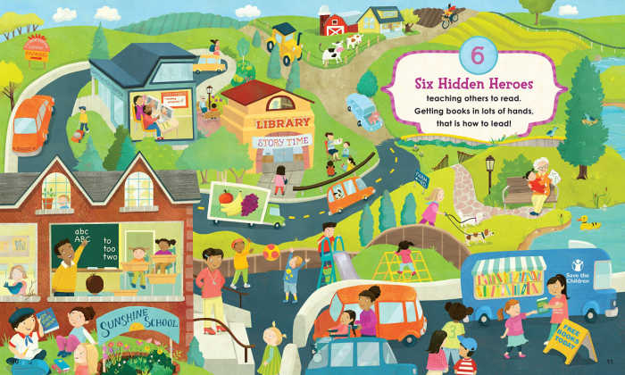 Teachers are hidden heroes children can find in this fun search and find book.